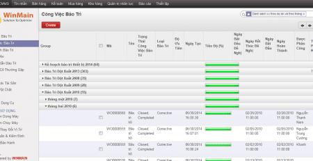 giao diện phần mềm quản lý bảo trì thiết bị