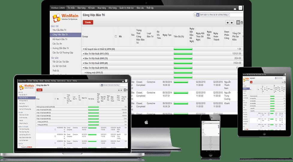 demo phần mềm quản lý bảo trì thiết bị